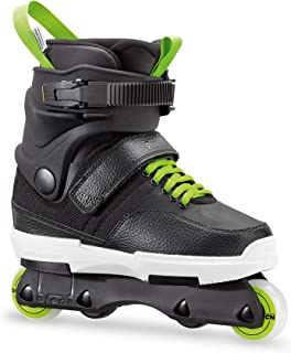Rollerblade NJR Kid's Size Adjustable Street Inline Skate, Black and Green, High Performance Inline Skates, Youth