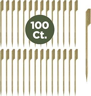 Prexware 4.7 Inch Bamboo Picks Paddle Skewers BBQ Picks 100 Pack