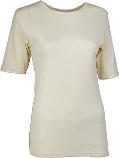 Rosette Women's Classic Short Sleeve Crew Neck Tee Undershirt, 100% Cotton, X Small, Ivory