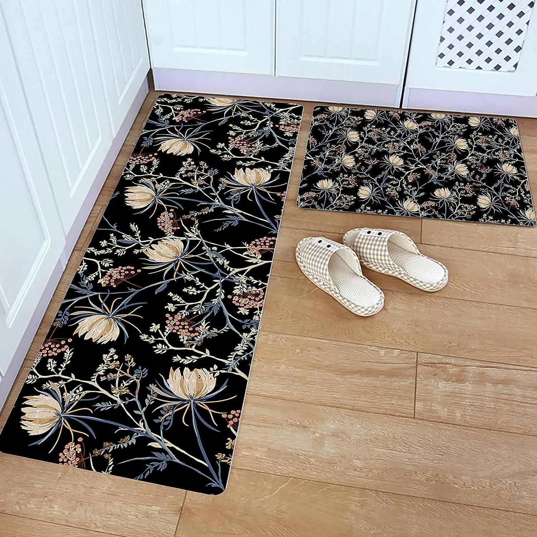 Kitchen Rug Set 2 Piece PVC Mat Floor Super Special SALE held Leather Daily bargain sale Dream Flower Retro