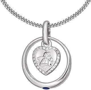 Clever Schmuck Ensemble chaîne à maillons de 36cm en argent sterling925+anneau de baptême orné d'un saphir et pendenti...