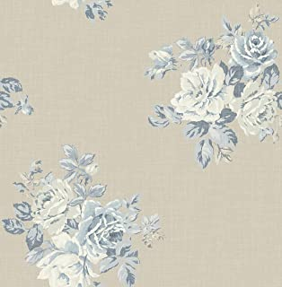 Wallpaper Classic Cottage Blue Floral Bouquet on Beige Background