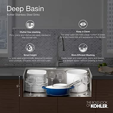 """KOHLER 5267-1-NA Verse 33"""" X 22"""" X 9-1/4"""" Top-Mount Double-Equal Bowl Kitchen Sink With Single Faucet Hole, Stain"""