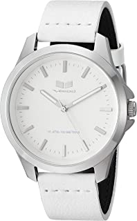 Vestal Stainless Steel Analog-Quartz Watch with Leather Strap, White, 18 (Model: HEI393L15.WH)