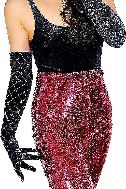 GooDay 2020 Fashion Velvet Gloves Sparkle Diamond Stretch Opera Evening