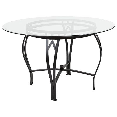 Round glass dining table Black Flash Furniture Syracuse 48 Round Glass Dining Table With Black Metal Frame Furniture Dealer Locator Find Your Furniture Round Glass Dining Tables Amazoncom