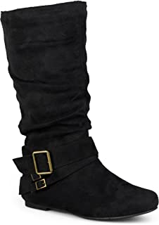 Womens Regular Sized and Wide-Calf Buckle Slouch Mid-Calf Boot