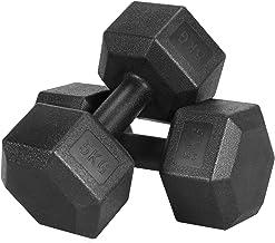 Yaheetech halters, 2-delige set, korte halters, 5 kg, met oppervlak van kunststof voor krachttraining, gymnastiek en fitness