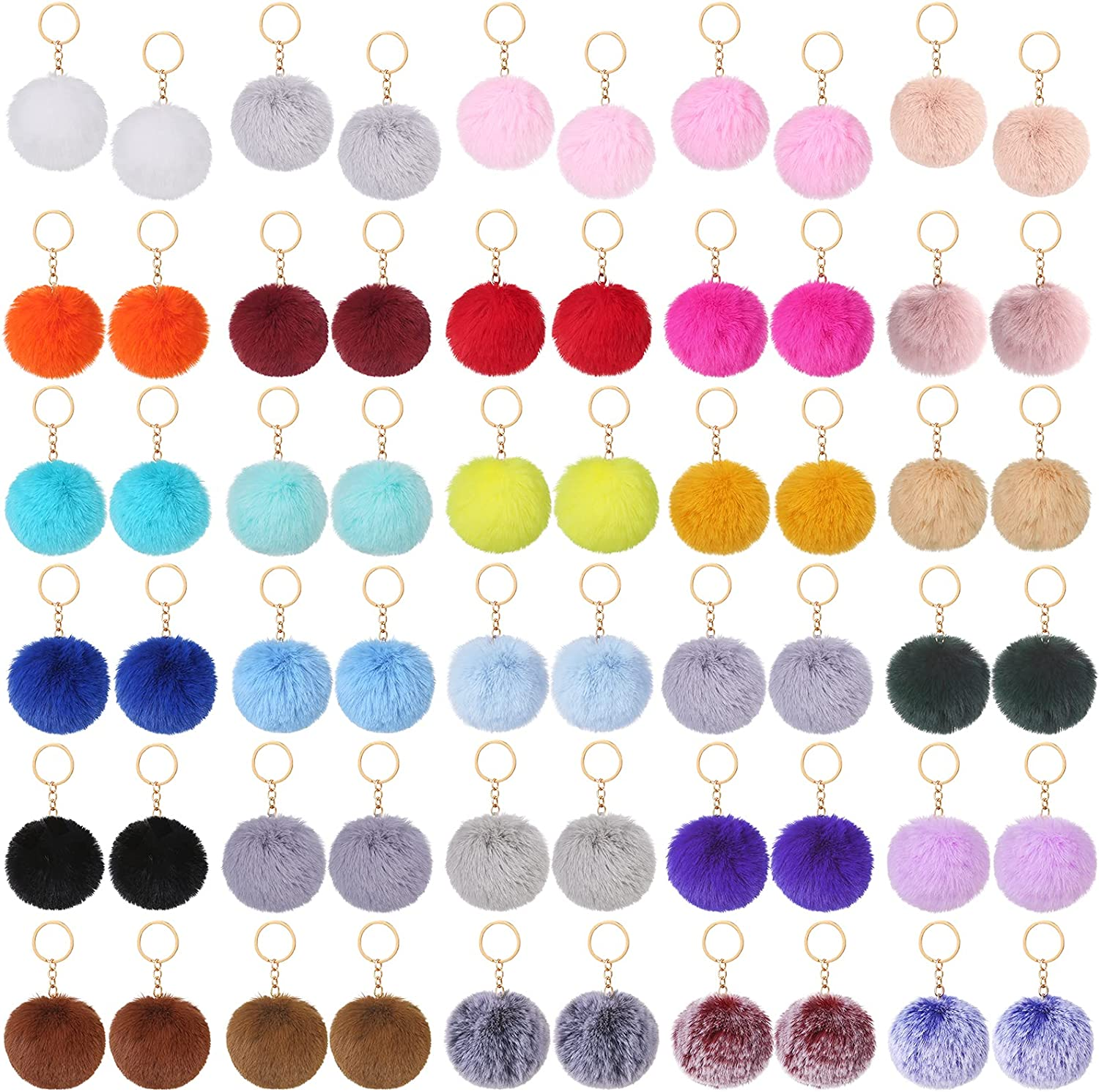 Auihiay 60 Pieces Pompoms Keychains Fluffy Puff Ball Keyrings for Girls Women Pendant Accessories (30 Colors)