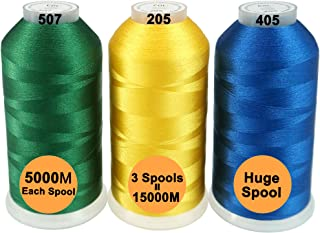 New brothreads-28 Options-Various Assorted Color Packs of Polyester Embroidery Machine Thread Huge Spool 5000M for All Embroidery Machines - Basic Colors 2