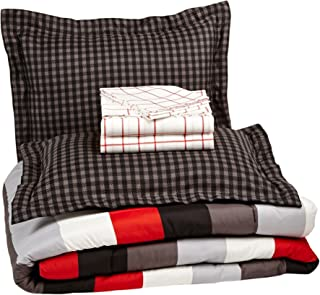 AmazonBasics 7-Piece Bed-In-A-Bag Comforter Bedding Set - Full or Queen, Red Simple Stripe, Microfiber, Ultra-Soft
