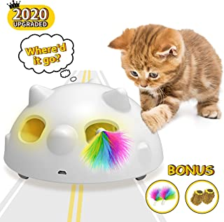 2020 Newest Pop and Play Interactive Cat Toy, Low Noise Robotic Cat Toy with 900mAh Rechargeable Battery&Auto Shut-Off,Random Moving Feather Electronic Cat Toys for Indoor Cats, Includes 4 Accessories