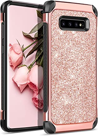 BENTOBEN Case for Samsung Galaxy S10 Plus, 2 in 1 Luxury Glitter Shockproof Sparkle Bling Girl Women Shiny Faux Leather Hard PC Soft Bumper Protective Phone Cover for Galaxy S10+ Plus Rose Gold