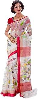 SareesofBengal Women's Muslin Silk Handloom Jamdani Dhakai Saree White
