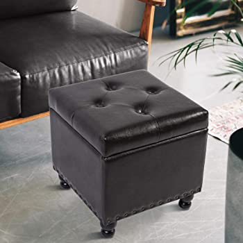 GOOD & GRACIOUS Storage Ottoman Cube, 17.3 Inch Tufted Square Ottoman Foot Rest Stool Faux Leather,Holds Up to 300lbs, Brown