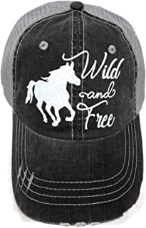 White Glitter Wild and Free Horse Distressed Look Grey Trucker Cap Hat Western
