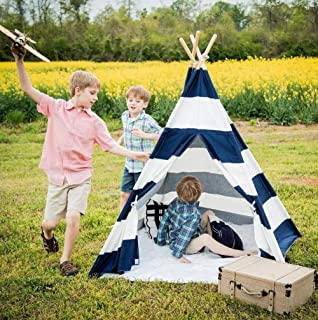 Kids Teepee Tent for Kids, No Toxic Chemicals Added, w/ Carrying Case, Navy Kid Teepee Tent for Boys & Girls, Large Enough Tipi Tents for Adults Toddler Baby Boy Adult Children, Childs Reading Nook