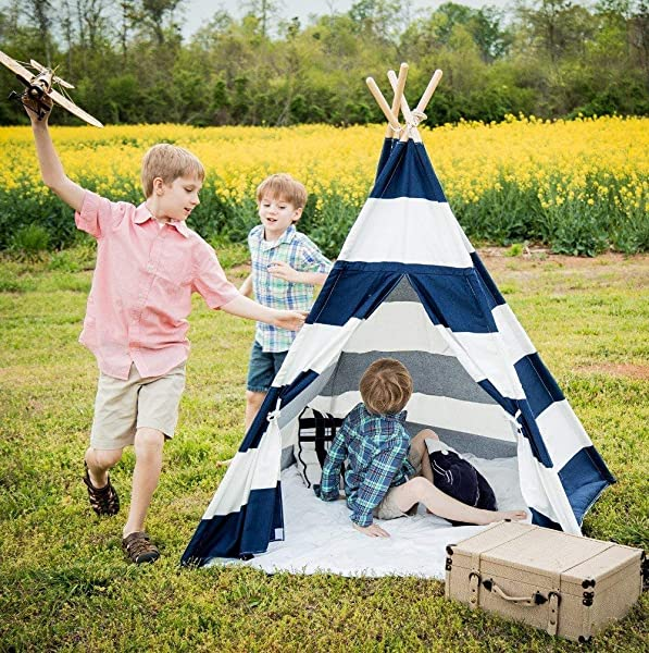Kids Teepee Tent For Kids No Toxic Chemicals Added Carrying Case Navy Play Tents Indoor For Boys Girls Large Enough Tipi For Toddler Dog Baby Boy Adult Children Adults Dogs Childs Reading Nook