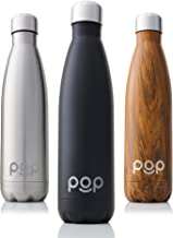 POP Design Stainless Steel Vacuum Insulated Water Bottle – Keeps Cold 24hrs. or Hot..