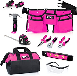 DIY jr My First Tool Set - Pink Real Tool Set for Kids Pink Tools for Girls Toolbelt Child-Sized Tools Complete Tool Set for Girls Tools for Small Hands