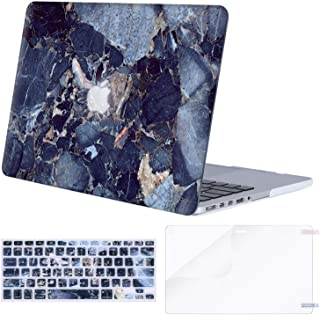 MOSISO Case Only Compatible with Older Version MacBook Pro Retina 13 inch (Model: A1502 & A1425)(Release 2015-end 2012),Plastic Pattern Hard Shell&Keyboard Cover&Screen Protector, Navy Blue Marble