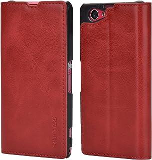 Mulbess Funda Sony Xperia Z1 Compact [Libro Caso Cubierta] Slim de Billetera Cuero Carcasa para Sony Xperia Z1 Compact Case, Vino Rojo