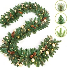 LIFEFAIR 9 Foot by 12 Inch Christmas Garland with 50 Clear Lights, 340 Branch Tips, Three Different Types of Green Leaves, Pinecones, Gold Berries and Gold Ball