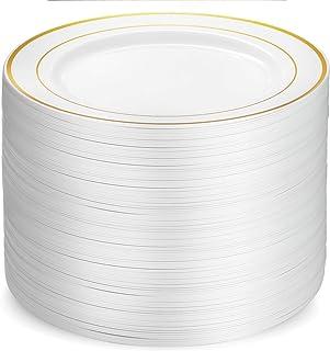 100 Piece Plastic Party Plates White Gold Rim, Premium Heavy Duty 10.25 Inch Dinner Plates Elegant Fancy Heavy Duty Dispos...