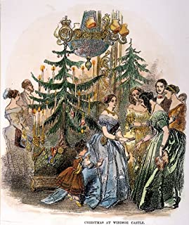 Queen Victoria Nhanding Out Christmas Gifts At Windsor Castle Wood Engraving 1846 Poster Print by (24 x 36)