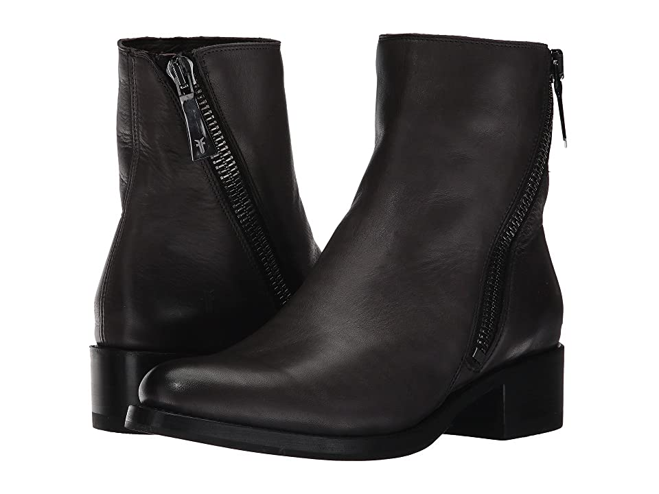 Frye Demi Zip Bootie (Charcoal Polished Soft Full Grain) Women