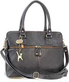 Catwalk Collection Handbags Leder - Große Schultertragetasche/Umhängetasche/Shopper/Tote - Handtasche mit Schultergurt - VICTORIA