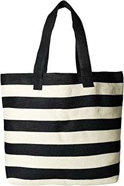 BSB1556 Wide Stripe Tote Bag with Interior Zippered Pocket and Metal Snap Closure