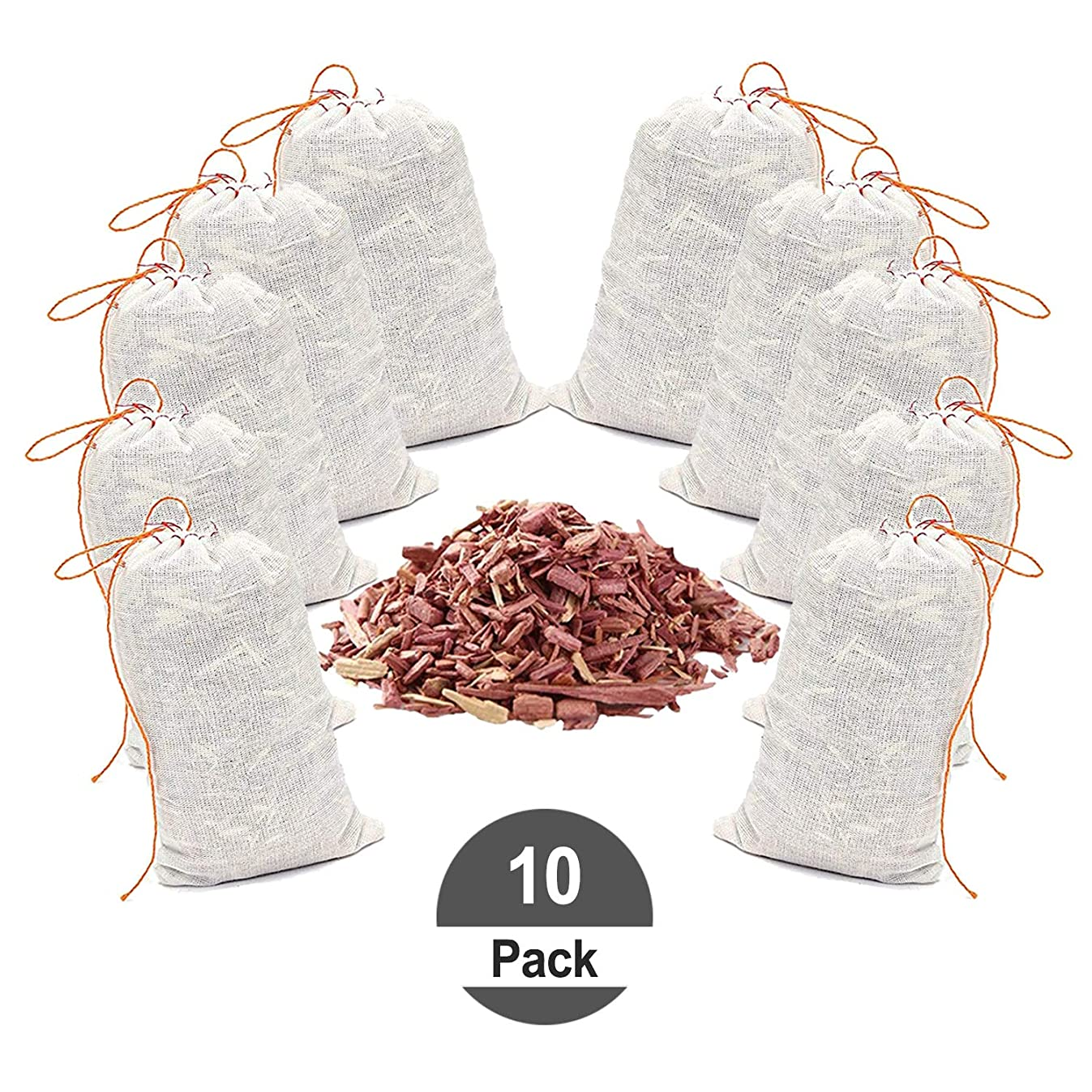 HomeDo 10Pack Cedar Sachet Bags, Natural Red Cedar Chips Sachets for Closets and Drawers, Clothes Storage Protector (Cedar Bags-10Pack) …