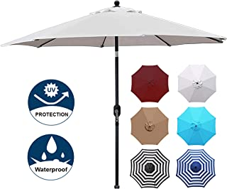 Blissun 9' Patio Umbrella Aluminum Manual Push Button Tilt and Crank Garden Parasol (Grey)