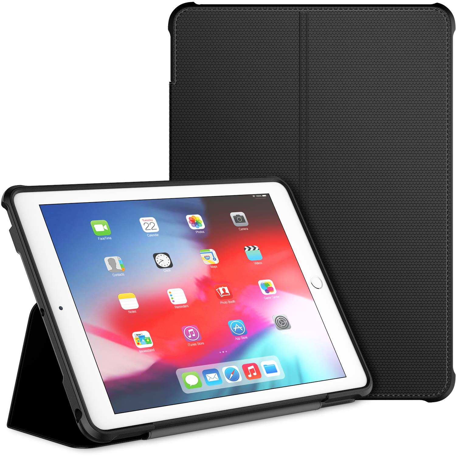 Amazon Com Jetech Case For Ipad 9 7 Inch 2018 2017 Model 6th 5th Generation Double Fold Stand With Shockproof Tpu Back Cover Auto Wake Sleep Black Electronics