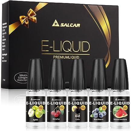 Salcar® 5 x 10ml e liquide pour cigarette electronique/E-Cigarette, VG70%/PG30%, sans nicotine ni tabac. (Pomme, Cerise, Myrtille, Pastèque, Cola)