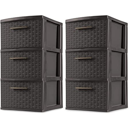 Versatile Decorative Storage Solution Durable Plastic 3 Drawer Wide Weave Tower