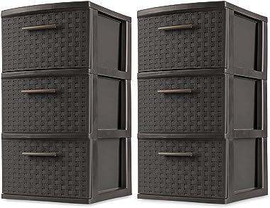 Sterilite 3 Drawer Wicker Weave Decorative Storage Tower, Espresso (2 Pack)