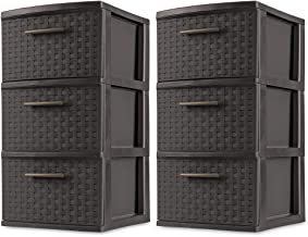 product image for Sterilite 3 Drawer Wicker Weave Decorative Storage Tower, Espresso (2 Pack)