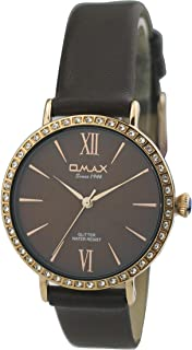 Omax #GT008R55I Women's Diamante Studded Dial Leather Strap Wrist Watch, Analog Display, Japanese Quartz Movement, Buckle Clasp, 3 ATM Water Resistant (Brown Strap Gold Dial Brown Face)