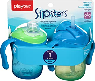 Playtex Baby Sipsters Spill-Proof Training Cup with Removable Handles, Stage 1 (4+ Months), Starter Kit (Colors may vary)