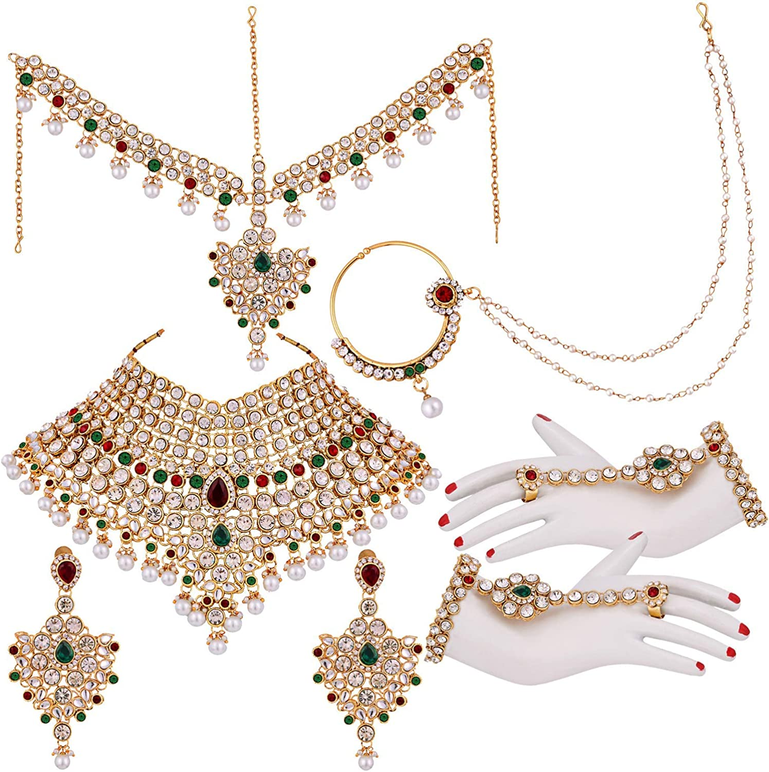 I Jewels Indian Wedding Traditional Gold Plated Kundan Ethnic Bridal Jewelry Set with Earrings, Nose Ring, Mathapatti & Haath Panja for Women