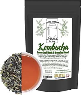 Kombucha Loose Leaf Black and Green Tea 50/50 Blend, 120 Servings, Keemun Black & China Young Hyson Green Tea for Brewing ...