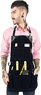 Under NY Sky Tool Black Apron – Heavy-Duty Waxed Canvas, Leather Reinforcement, Extra Pockets – Adjustable for Men and Women – Pro Mechanic, Woodworker, Blacksmith, Plumber, Electrician, Welder Aprons