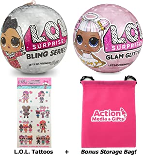 LOL Surprise Dolls Holiday Bundle - (1) Bling Series + (1) Limited Edition Glitter Glam + (8) L.O.L. Tattoos with Compatible Toy Storage Bag
