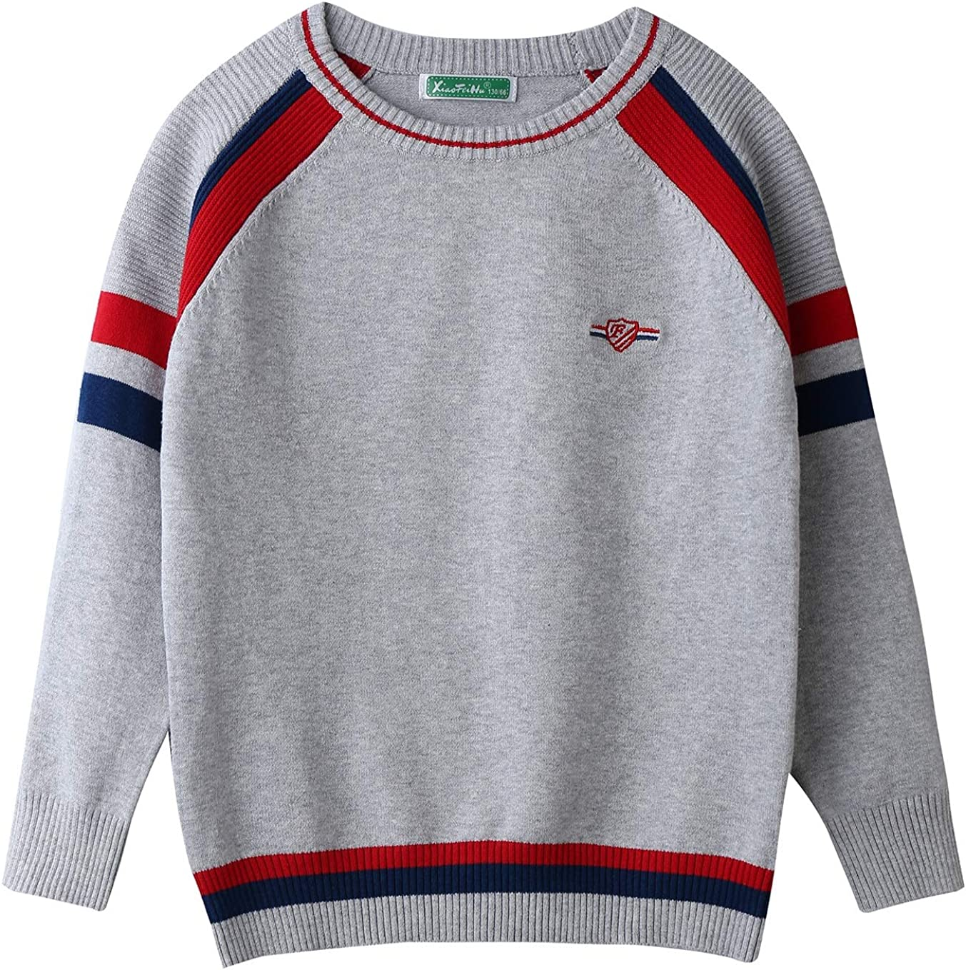 Orchid Boys Round Collar Patchwork Long Sleeve Striped Pullover Sweater 4-10T