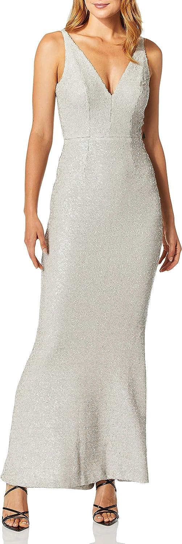 Dress the Population Women's Harper Sequin Sleeveless Plunging Long Gown, Bone, M