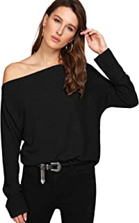 WDIRARA Women's One Shoulder Solid Sweater Pullover Long Sleeve Knit Jumper Top