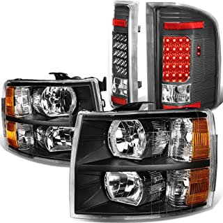 Replacement for 07-14 Chevy Silverado Black Housing Amber Side Headlight+Full LED Tail Lamp