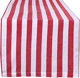 Ramanta Home Classic French Stripe Cotton Table Runner for Family Dinners or Gatherings, Indoor or Outdoor Parties, Everyday Use, Wedding Table Runner-(16x72) Easy Care, Red White Stripes, 2Pack